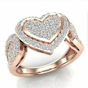 💋 18K Rose Gold White Sapphire Heart Ring